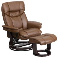 Flash Furniture Contemporary Palimino Leather Recliner and Ottoman with Swiveling Mahogany Wood Base FHFBT7821PALIMINOGG