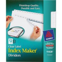 Avery Index Maker Print & Apply Clear Label Dividers, 12-Tab, White Tab, Letter, 1 Set AVE11428