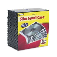 Fellowes Slim Jewel Case, Clear/Black, 100/Pack FEL98335
