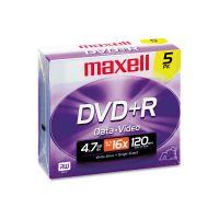Maxell DVD+R Discs, 4.7GB, 16x, w/Jewel Cases, Silver, 5/Pack MAX639002