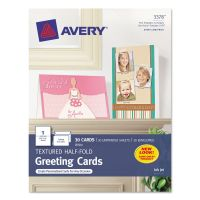 Avery Textured Half-Fold Greeting Cards, Inkjet, 5 1/2 x 8 1/2, Wht, 30/Bx w/Envelopes AVE3378