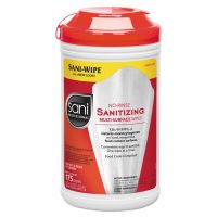 Sani Professional Table Turners No-Rinse Sanitizing Wipes, White, 175/Container, 6/Carton NICP66784