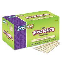Chenille Kraft Natural Wood Craft Sticks, 4 1/2 x 3/8, Wood, Natural, 1000/Box CKC377501