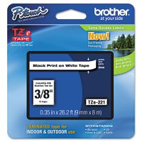 """Brother P-Touch TZe Standard Adhesive Laminated Labeling Tape, 3/8""""w, Black on White BRTTZE221"""