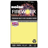 Boise FIREWORX Colored Paper, 20 lb, 8 1/2 x 14, Crackling Canary, 500 Sheets/Ream CASMP2204CY