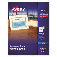 Avery Embossed Note Cards, Inkjet, 4 1/4 x 5 1/2, Matte Ivory, 60/Pk w/Envelopes AVE8317