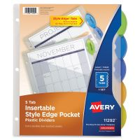 Avery Style Edge Insertable Dividers with Pocket, 5-Tab, Multi-color Tab, Letter, 1 Set AVE11292
