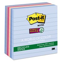 Post-it Notes Super Sticky Recycled Notes in Bali Colors, Lined, 4 x 4, 90-Sheet, 6/Pack MMM6756SSNRP