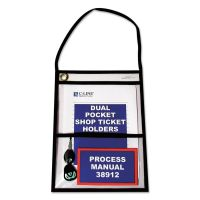 """C-Line Stitched Shop Ticket Holders with 150"""" Strap, Clear/Black, 9 x 12, 15/BX CLI38912"""