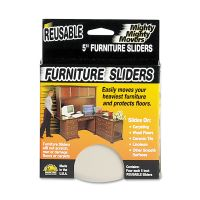 """Master Caster Mighty Mighty Movers Reusable Furniture Sliders, Round, 5"""" Dia., Beige, 4/Pack MAS87007"""