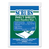 SCRUBS Insect Shield Insect Repellent Wipes, 8 x 10, White, 100/Carton ITW91401