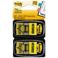 """Post-it Flags Arrow Message 1"""" Page Flags, """"Notarize,"""" Yellow, 2 50-Flag Dispensers/Pack MMM680NZ2"""