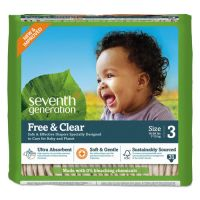 Seventh Generation Free and Clear Baby Diapers, Size 3, 16 lbs to 24 lbs, 124/Carton SEV44062