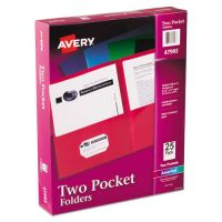 Avery Two-Pocket Folder, 40-Sheet Capacity, Assorted Colors, 25/Box AVE47993