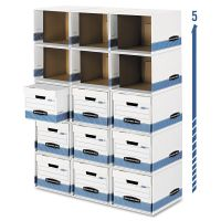 Bankers Box File/Cube Box Shell, Legal/Letter, 12 x 15 x 10, White/Blue FEL0162601