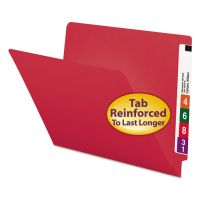 Smead Colored File Folders, Straight Cut, Reinforced End Tab, Letter, Red, 100/Box SMD25710