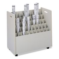 Safco Laminate Mobile Roll Files, 50 Compartments, 30-1/4w x 15-3/4d x 29-1/4h, Putty SAF3083