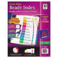 Avery Ready Index Customizable Table of Contents, Asst Dividers, 10-Tab, 11 x 9 1/2 AVE11165