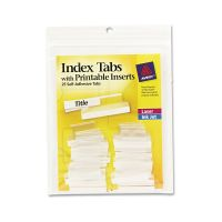 Avery Insertable Index Tabs with Printable Inserts, One, Clear Tab, 25/Pack AVE16221