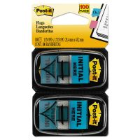 """Post-it Flags Arrow Message 1"""" Page Flags, """"Initial Here"""", Blue, 2 50-Flag Dispensers/Pack MMM680IH2"""