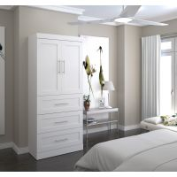 """Bestar Pur by Bestar 36"""" storage unit with 3-drawer set and doors in White BESBES2687817"""