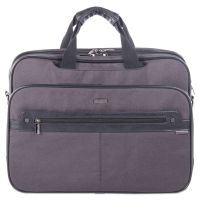 "Harry Executive Briefcase, 16.5"" x 4.75"" x 12.5"", Nylon/Synthetic Leather, Gray BUGEXB523"