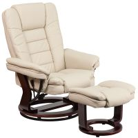 Flash Furniture Contemporary Beige Leather Recliner and Ottoman with Swiveling Mahogany Wood Base FHFBT7818BGEGG