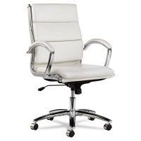 Alera Neratoli Mid-Back Swivel/Tilt Chair, White Faux Leather, Chrome Frame ALENR4206