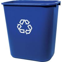 Rubbermaid Commercial Medium Deskside Recycling Container, Rectangular, Plastic, 28.125qt, Blue RCP295673BE