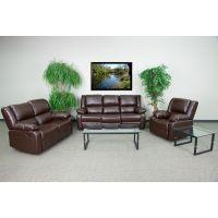 Flash Furniture Harmony Series Brown Leather Reclining Sofa Set FHFBT70597RLSSETBNGG