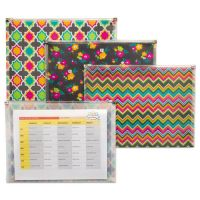 """C-Line Fashion Zip 'N Go Reusable Envelope, 1 Section, 13.13"""" x 10"""", Assorted, 3/Pack CLI55610"""