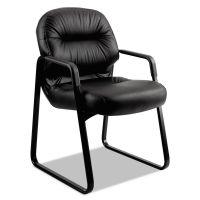 HON Pillow-Soft 2090 Series Guest Arm Chair, Black Leather HON2093SR11T