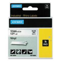 "DYMO Rhino Permanent Vinyl Industrial Label Tape, 1/2"" x 18 ft, White/Black Print DYM18444"
