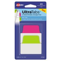 Avery Ultra Tabs Repositionable Tabs, 2 x 1 3/4, Neon: Green, Pink, 20/Pack AVE74764