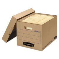 Bankers Box Filing Storage Box with Locking Lid, Letter/Legal, Kraft, 25/Carton FEL7150001