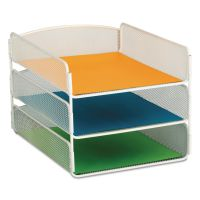 Safco Desk Tray, Three Tiers, Steel Mesh, Letter, White SAF3271WH