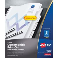 Avery Customizable Print-On Dividers, 5-Tab, White Tab, Letter, 5 Sets AVE11516