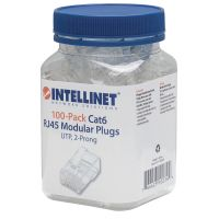 Intellinet Cat6 2-prong Modular Plugs, Jar of 100 SYNX3744514