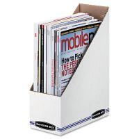 Bankers Box Corrugated Cardboard Magazine File, 4 x 9 1/4 x 11 3/4, White, 12/Carton FEL10723