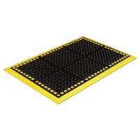 Crown Safewalk Workstations Anti-Fatigue Drainage Mat, 40 x 124, Black/Yellow CWNWS4E24YE