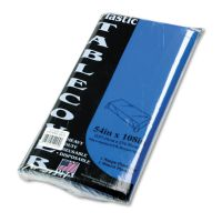 Tablemate Table Set Rectangular Table Cover, Heavyweight Plastic, 54 x 108, Blue, 6/Pack TBL549BL