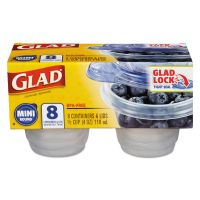 Glad Mini Round Food Storage Containers, 4 oz,  8/Pack CLO70240PK