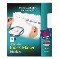 Avery Print & Apply Clear Label Dividers, 8-Tab, White Tab, Letter, 5 Sets AVE11437