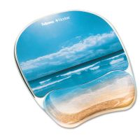 Fellowes Gel Mouse Pad w/Wrist Rest, Photo, 7 7/8 x 9 1/4, Sandy Beach FEL9179301