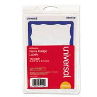 Universal Border-Style Self-Adhesive Name Badges, 3 1/2 x 2 1/4, White/Blue, 100/Pack UNV39120