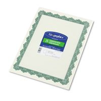 Geographics Parchment Paper Certificates, 8-1/2 x 11, Optima Green Border, 25/Pack GEO39452