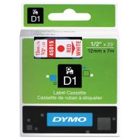 "DYMO D1 High-Performance Polyester Removable Label Tape, 1/2"" x 23 ft, Red on White DYM45015"