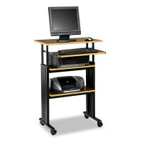 Safco Adjustable Height Stand-Up Workstation, 29w x 22d x 49h, Cherry/Black SAF1929CY