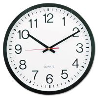 "Universal Round Wall Clock, 12 5/8"" dia., Black UNV10431"