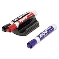 EXPO Magnetic Clip Eraser w/3 Markers, Chisel, Black/Blue/Red, 1 Set SAN81503